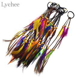 Extensões elásticas on-line-Lichia Boho dreadlock Beads Colorido Pena Elastic Cabelo Anel Extensão Do Cabelo Faux Tranças Hairwear Jóias para Mulheres Dos Homens