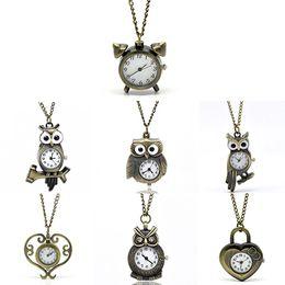 Wholesale Necklace Chain Pocket Watch Heart - Vintage Antique Bronze Necklace Chain Owl Heart Clock Quartz Pocket Watch Gift