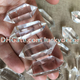 Wholesale Clear Quartz Crystals Wholesale - 5PC Polished Clear Quartz Crystal Point Prism Wand Double Terminated Natural White Rock Crystal Quartz Mineral Healing Meditation Stone Wand