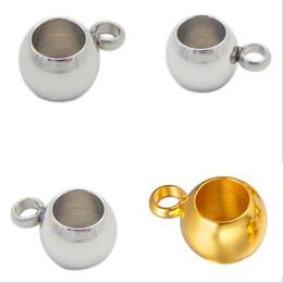 Серебряный пинч-клип онлайн-Silver Stainless Steel Spacer  fit 3/4/5mm Leather Cord European Big Hole Bead Charms Pendant Pinch Clips Bails DIY Jewelry