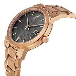 2018 унисекс швейцарский розового золота тон BU9005 BU9006 большой Rosetone швейцарский из нержавеющей стали браслет часы 38mm с коробкой от