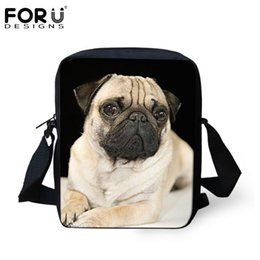 Wholesale Cashmere Dog - FORUDESIGNS Women Messenger Bags Puppy Pug Dog Printing Black Ladies Bolsos Mujer Cross Body Bags Small Handbag Shoulder Bag Hot