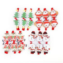 Wholesale Black Santa Ornaments - New 6PCS Set Fashion Design Santa Claus Christmas Wood Clips Photo Paper Clothespin Christmas Tree Drop Pendant Ornament 3*5*1cm