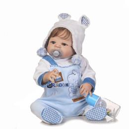 Wholesale Real Boy Doll - 22inch Boneca Bebe Reborn Doll 55cm Full Body Silicone Doll Baby Real Boy Blue Eyes Bebe Reborn Menino with Soft Blue Clothes