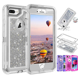 Iphone 8 mais caso brilho on-line-Casos Quicksand robô Cristal Líquido Glitter Cases capa para o iPhone 11 Pro XS MAX XR X 8 Plus Samsung Nota 10 sem Clipe