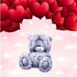 Querlager online-Handgemachte Wandbild Puppe Bär Herzform Ballon Muster Diamant Kreuzstich Für Valentinstag Geschenk Gemälde Kreative 11lxb B