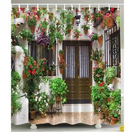 Tissu de polyester de rideau de douche de maison de jardin espagnol fleurit le vert floral de vignes ? partir de fabricateur