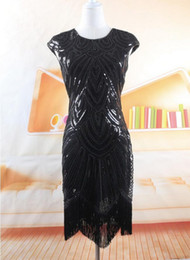 Wholesale xs sequin dress - Women's Party Dress Gown Femme 1920s Gatsby Baffle Sequins Tassel Embroidery Midi Summer Vintage Black Dress Vestidos Free Shipping