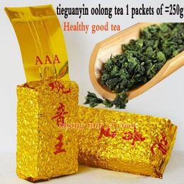 Cravatte cinesi online-Grado superiore 250g tè cinese Anxi Tieguanyin, Oolong, tè Tie Guan Yin, tè assistenza sanitaria, sottovuoto, spedizione gratuita, raccomandare