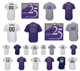 Wholesale Colorado Shorts - Customized 25th Patch Colorado Baseball Jersey Charlie Blackmon Nolan Arenado Carlos Gonzalez David Dahl Jeff Hoffman Ian Desmond Story