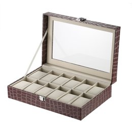 Wholesale Leather Glasses Cases For Men - Luxury 12 Slot Watch Box Organizer Glass Top PU Leather Watch Display Case for Men Women with Pillows Crocodile-Like Texture