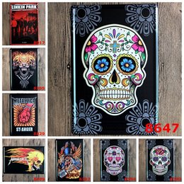 Wholesale Frames Using - Metal Art Iron Paintings Linkin Park Skull Head No Frame Tin Poster Vintage 20*30cm Tin Signs Use To Party Bar 3 99ljt B