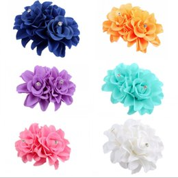 Accessori di fiori del tessuto online-Fashion Women flower Hair Clips Lady Girl Barrettes Hairpins Accessories Fabric Metal Wedding Birthday Party Gift