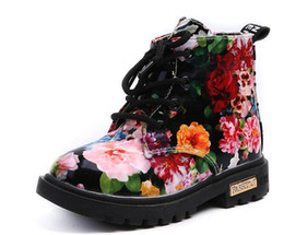 Wholesale kids boots size 11 boys - 2018 Kids Ankle Boots Girls Boys Floral Flower Print Chelsea Boots Girls Autumn Martin Boots Children Winter Shoes size 21-30