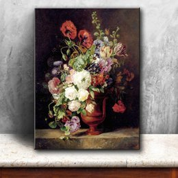 Wholesale Rectangle Flower Vase - classical retro vase flowers landscape canvas printings oil painting printed on canvas home wall art decoration pictures