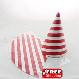 Wholesale Cheap Paper Decorations - 24pcs Choose Your Colors Christmas Red Striped Paper Party Hats Bulk-Cheap Birthday Wedding Carnival Decorations Headpiece Caps