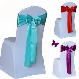 fundas para sillas fajas de oro Rebajas Rojo / dorado / azul 14 color silla de la boda cubierta de la tela del satén pajarita banda de cinta decoración del partido del hotel suministra barato