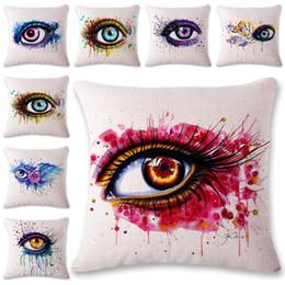 Wholesale cm hospital - 45*45 CM Pillow Cases Colorful Big Eye Linen Pillow Cover Square Pillow Case Shams Comfortable Home Decorative Cushion Cover Free DHL XL-421