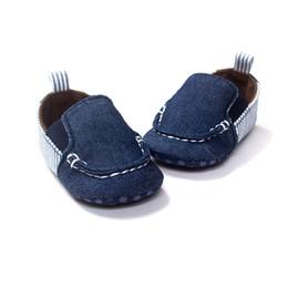 Blous manches bleues en Ligne-Baby Boys Chaussures Nouveau-né Berceau First Walkers Mocassins Blue Stripe Infantil Enfant en bas âge Kids Vichy Prewalkers Chaussures