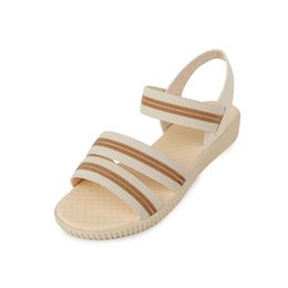 Wholesale Wholesale Canvas Wraps - High Quality Women Fashion Sandal Lady Bohemia Flats Anti-slip Pin Buckle Platform Ankle-Wrap Shoes Summer Beach Casual Slipper