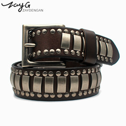 vintage pins Promo Codes - ZAYG Fashion Punk Personality Pin Buckle High Quality Genuine Leather Belt Copper metal Studded Belt Vintage Wind Big Rivet