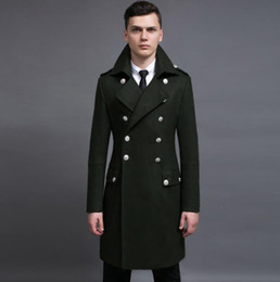 Wholesale Mens Vintage Wool Coat - Vintage casual slim long wool coat men jackets and coats mens double-breasted wool overcoats winter trench jacket Army Green