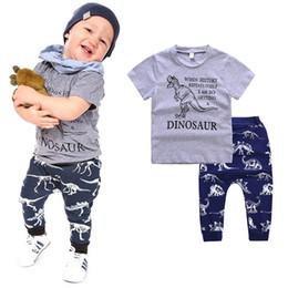 Wholesale Dinosaur Pants - Children boys outfits INS DINOSAUR letter print T-shirt+dinosaur pants 2pcs set 2018 summer suit Boutique kids Clothing Sets C4300