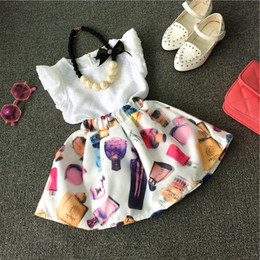Wholesale Fashion Dress Up Kids - Children baby girls dress suits white t-shirt +skirt female perfume make-up decoration fashion princes dress kids girls outfits clothes