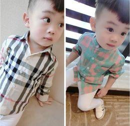 Vestiti carino 5t della ragazza online-Camicetta a maniche lunghe Camicie a quadri manica lunga Camicie a quadri per bambini Camicie per bambini