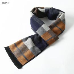 20fdfcedf6ac56 YILIAN Marke Top Top Qualität Plaid Mode Quaste Männer Schal Winter  Neuesten hochwertigen Kaschmir Dicke Best Man Business Schal DU12