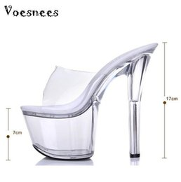 Wholesale High Heeled Shoes 16 Cm - sandals summer 2016 crystal slipper ultra high heels 16 cm transparent waterproof cool slippers fine with big yards women's shoe
