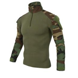 Camouflage Farben US Army Combat Uniform Shirt Fracht Airsoft Paintball Tactical Tuch mit Ellbogenschützer Tactical T-Shirts von Fabrikanten