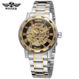 Wholesale Winner Transparent - Winner Gold Transparent Watch Mens Watches Top Brand Luxury Relogio Male Clock Men Casual Watch Mechanical Skeleton Montre Homme