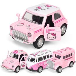 Autobus en métal jouet en Ligne-Mini KT modèle de voiture de métal d'alliage rose de bande dessinée mignonne son et lumière tirez le jouet pour enfants bus rétro / scarabée / bus / bus rétro