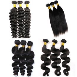 Texture di pizzo online-Fasci di capelli umani brasiliani vergini con chiusura in pizzo 4X4 trame di capelli brasiliani trame estensioni dei capelli umani non trattate di remy più texture
