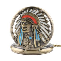 Ожерелье кулон конструкций мужчин онлайн-Bronze Pocket Watch Tribal elder Sculpture Pattern Steampunk Design with Retro Necklace Chain Pendant Gifts for Man Woman