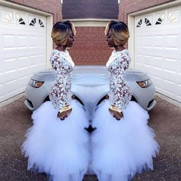 Wholesale Custom Prom Dresses For Plus - 2018 African White Mermaid Lace Prom Dresses for Black Girls Long Sleeves Ruffles Tulle Floor Length Plus Size Evening Prom Gowns Vestidos