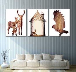 décor de reflets Promotion Chaud Brown Cerf Famille Toile Art Photo Et Peculiar Oiseau Réflexion Art Mur Affiche Affiche Kidsroom Décor Peinture No Frame