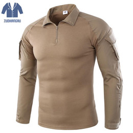 Maglietta tattica T-shirt manica lunga mimetica da combattimento per uomo estate Esercito Man Paintball No Pads da