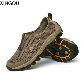 Wholesale Elastic Net Fabric - New summer sandals men casual shoes breathable mesh net outdoor wading mountaineering shoes men's Sandals tide