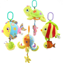 Wholesale Plush Sea - Wholesale- 1pc New Sea Animal Baby Rattles Plush Toy Kids Soft Cartoon Fish Toy Baby Bed Hanging Bells Toys For Stroller