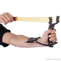 2019 catapulta de metal Potente tirachinas de goma tirachinas muñeca plegable Tirachinas Camuflaje de caza al aire libre Tirachinas herramientas de caza para caza al aire libre + NB