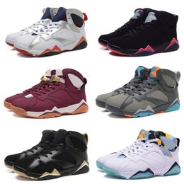 Wholesale Leather Men Sweaters Black - TOP Quality 7 7s Bordeaux Hare Olympic Tinker Alternate Men Basketball Shoes 7s Sweater UNC French Blue Raptor designer Sneakers