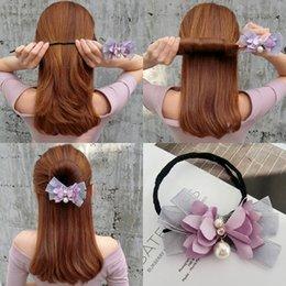 Argentina LOEEL Lady Flower Headbands Magic Hair Maker Cinta Arco Perlas Rizos del pelo Fabricante de bollo que hace la herramienta para las mujeres Accesorios supplier make ribbon hair accessory Suministro