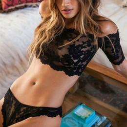 58a16285bb full transparent bra NZ - Women Thin Floral Lace Bra Set Transparent Sexy  Lingerie Off Shoulder