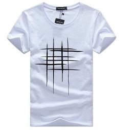 Camisas de diseño de forro online-2018 Simple línea de diseño creativo con estampado cruzado de algodón camisetas hombre recién llegado estilo de verano manga corta hombres camiseta tamaño S-5XL
