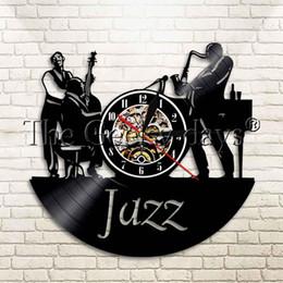 ventiladores de sala Rebajas 1 Pieza de Jazz Instrumento de Música Disco de Vinilo Reloj de Pared de la Música Sala de estar Fresca Interior Decorativo Reloj de Tiempo Regalo Para Jazz Fan