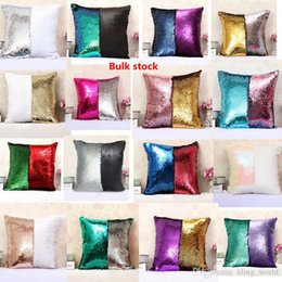 Wholesale Patchwork Sofa Covers - Sequins Pillow Case Mermaid Cushions Cover cotton Magical Two-color Changing Bright Pillowcase Shams Home Sofa Car Christmas Decor 36 Style