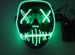 2019 неоновая модель Светодиодные Хэллоуин призрак маски чистка выборы год Маска EL провода светящаяся Маска Неон 3 модели мигает партии пугающий ужас террор анфас Маска