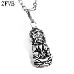 2019 colgante de fundición de acero ZFVB Mujeres Avalokitesvara Buda Colgante de Collar de Acero Inoxidable 316L Casting Bodhisattva Amuleto Talismán Colgantes Regalo de La Joyería rebajas colgante de fundición de acero